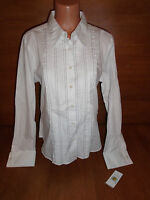 New Womens Size 16 Tommy Hilfiger White Pleated Button Front Shirt Top Cotton