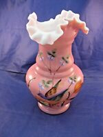 ANTIQUE HAND BLOWN CASED GLASS VASE  RUFFLED EDGE - FLORAL AND BIRD DECORATION