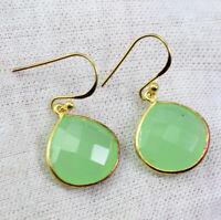 925 Sterling Silver Chalcedony Gemstone Party Wear Gold Plated Earring KE1041