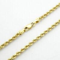 "10K Yellow Gold Womens 2.5mm Dainty Diamond Cut Rope Chain Pendant Necklace 18"""