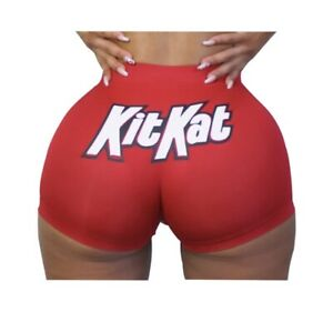 *BRAND NEW* Womens Kit Kat Booty Shorts Plus Size 2XL Snack Candy Hot Pants Yoga