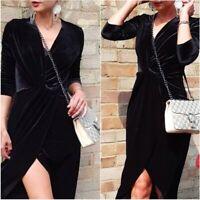 SALE Black Velvet Wrap Long Sleeve Midi Dress XS S UK 6 8 US 2 4 Blogger ❤
