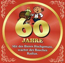 Aufkleber Flaschenetikett 60 Jahre mit witzigen Spruch Geburtstag Bierflasche