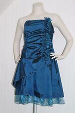 Abendkleid Cocktailkleid Hochzeit XS 34 petrol grün blau Schleife Trauzeugin