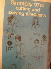 Simplicity Sewing Pattern 9718 Misses Blouses No Packaging Size 10