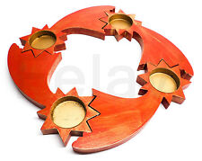 Teelichthalter 4er Set Sternschnuppe aus Holz Kerzenhalter Kerze NEU! (F197)