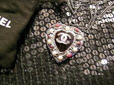 Chanel Necklace Gunmetal Silver Heart Pearls White Black Enamel Gripoix