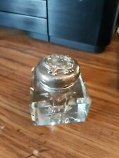 Antique 1800's ornate Victorian sterling silver crystal ? writing inkwell