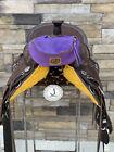 Pommel Bag Leather Handmade, Saddle Sak,Pommel Pocket,Purple SM, Trail Bag