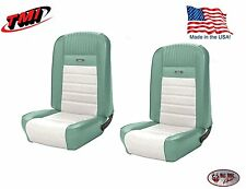 Deluxe PONY Seat Upholstery  Ford Mustang, Front Bucket Seats -Turquoise & White