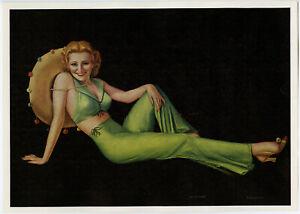 Vintage 1930s Billy Devorss Southwestern Art Deco Pin-Up Print Lady of Leisure