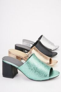 Ladies Shiny METALLIC MID BLOCK Sandal Mules in Black, Mint Green, Silver, Gold
