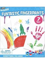 RoseArt Funtastic Fingerpaint Activity Kit 7 Washable Paint Tubs 6 Sponges NIB