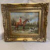 Vintage Timeless Treasures Oil Painting Framed Jockey Horse And Beagles