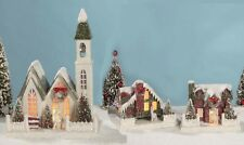 Vintage-style Putz Houses + Church Christmas Village Bethany Lowe New Light Up