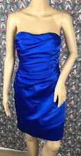 David's Bridal Blue Strapless Pleated Bridesmaid Dress F14212 Size 2 PreOwned