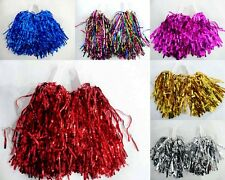 3 Sets Metallic Cheerleader Cheer Cheerleading Dance Party Dress Pom Poms School