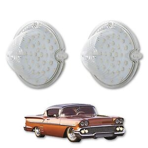 58 1958 Chevy Impala Bel Air Biscayne LED Front Clear Park Light Lamp Lens Pair