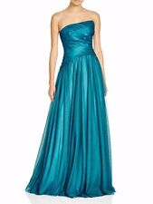 $598 NEW ML Monique Lhuillier Strapless Tulle Green Blue Prom Formal Gown Dress