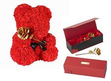 Rosenbär 25cm Teddybär Teddy GOLDENE ROSE Damen Ehefrau Partner Liebes Geschenk