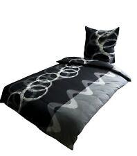 4 tlg Winter Flausch Bettwäsche 135x200 cm grau schwarz Kreise kuschel Fleece