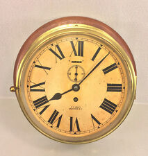 Antique Sestrel Brass Ship Clock Mounted on Wood Plaque Time Only Running