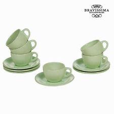 Juego de tazas con platos loza verde (6 PCS) - Colección Kitchen's Deco by Bravi