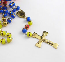 Stainless Steel Gold Religous Crucifix 8mm Silicone Rosary Necklace Women mens