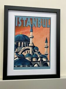 Vintage Retro Reproduction Istanbul Turkey Travel Poster Print A4