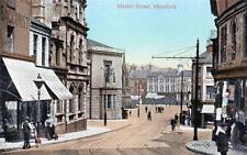 Mansfield Market Street unused old postcard Valentines