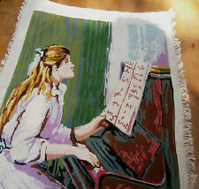 VINTAGE RARE LADY's EXQUISITE GOBELIN TAPESTRY HAND MADE THE GIRL PLAY THE PIANO