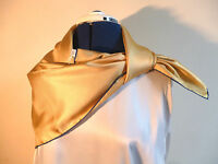 Silk square scarf Classic Yellow with navy border David Evans   NEW
