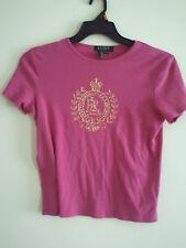 Ralph Lauren Rosa Dorado Adornado Corona Logotipo Cresta Camiseta Talla Pm