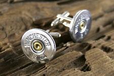 Winchester 12 Gauge Silver Tone Shotgun Cufflinks Wedding Bullet FREE SHIP