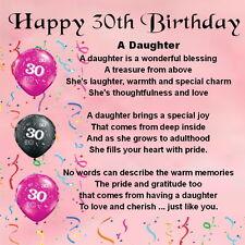 Personalizado Coaster-Rosa-Hija Poema - 30 Aniversario + Caja De Regalo Gratis