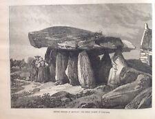 Druidic Remains Of Brittany, Antique Print 1871, Original