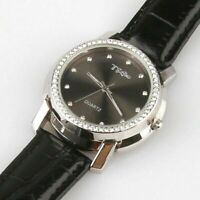 SILVER PLATED WATCH BY TSG ROUND + ZIRCONIA BLACK LEATHER STRAP + WHITE LEATHER