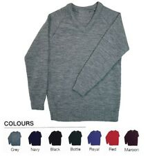 Mens Kids Plain V Neck Full Sleeve Sweater Jumper Tank Top Jersey Golf Casual UK