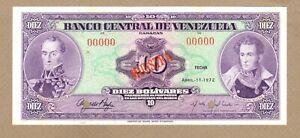 VENEZUELA: 10 Bolivares Banknote, (UNC), P-51s1, 11.04.1972, No Reserve!