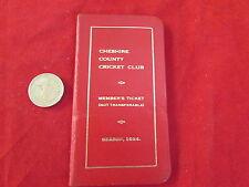 Cheshire County Cricket Club Stagione 1954 membri BIGLIETTO / impianti CARD