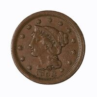 Raw 1852 Braided Hair 1C Uncertified Ungraded Circulated US Copper Large Cent