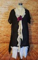 Krista Pearl Black Hand Dyed Short Sleeve Italian Linen Open Side Tunic Dress