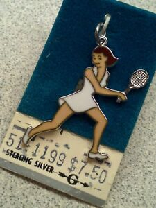 Vintage NOS Griffith Sterling Silver & Enamel Tennis Player Charm