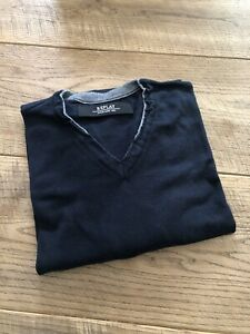 REPLAY Mens V Neck Jumper, Navy, With Grey Accents, Size XXL