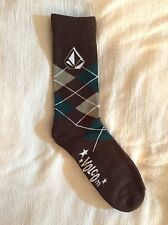 ❤️VOLCOM MENS Full Stone ARGYLE❤️GREEN BROWN❤️SOFT Combed Cotton Dress SOCKS❤️