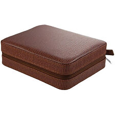 4 Watch Box Travel Case,Leather, Brown Arctic Shark LIMITED TIME SALE PRICE