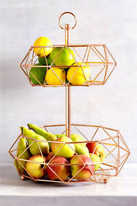 Rose Gold Large 2 Tier Fruit Veg Storage Basket Bowl Stand Unit Rack Gift