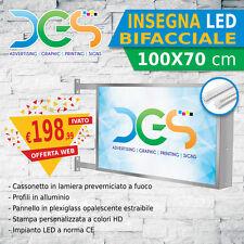 INSEGNA bifacciale LUMINOSA a LED 100x70 cm, STAMPA PERSONALIZZATA signs store
