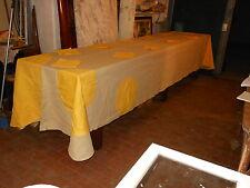 Tovaglia d'artista lino sole 190x460 12 tovaglioli B3 Linen Tablecloth ^