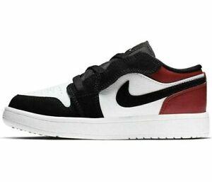 "Youth Nike Air Jordan 1 Low ALT ""Black Toe"" White Gym Red BQ6066-116 PS Size 12C"